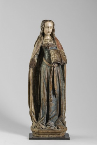 Sculpture  - Gothic figure,  Saint with book - Champagne Second half of the 15th century