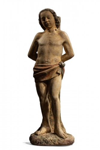 Follower of Antoine Le Moiturier, St Sebastian -Burgundy, late 15th century