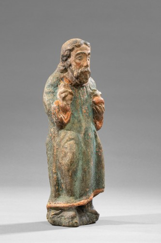 Blessing Christ In Limestone - Ile de Franc 14th Century - Sculpture Style Middle age