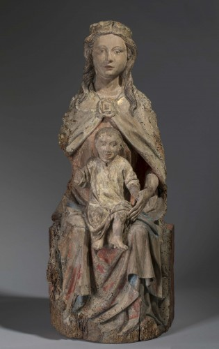 Sculpture  - Virgin with child in walnut - France (County of la Marche), 15th century