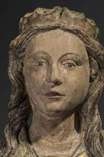 Virgin with child in walnut - France (County of la Marche), 15th century - Middle age