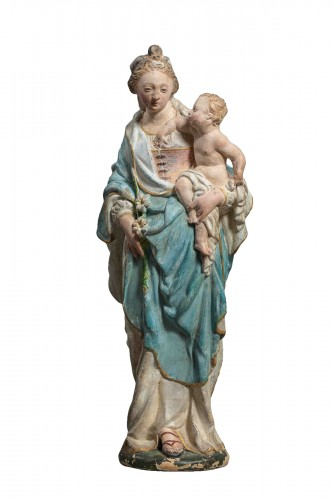 Virgin and Child - Terracotta, Circle of Charles Hoyau, Le Mans, 17th cent.