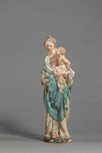 Virgin and Child - Terracotta, Circle of Charles Hoyau, Le Mans, 17th cent. - Sculpture Style Louis XIV