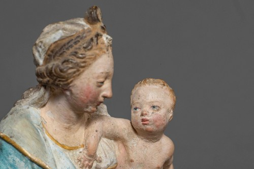 Virgin and Child - Terracotta, Circle of Charles Hoyau, Le Mans, 17th cent. -