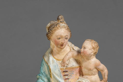 17th century -  Virgin and Child - Terracotta, Circle of Charles Hoyau, Le Mans, 17th cent.