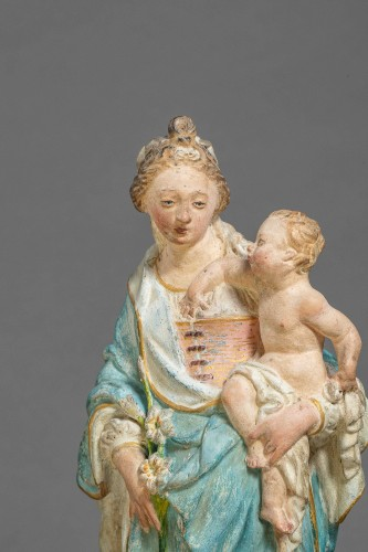 Virgin and Child - Terracotta, Circle of Charles Hoyau, Le Mans, 17th cent. - Louis XIV