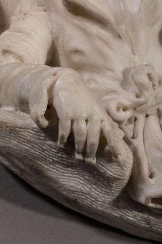 Sculpture  -  Resting Shepherd - Carrara Marble Northern Italy (Venice) 18th century