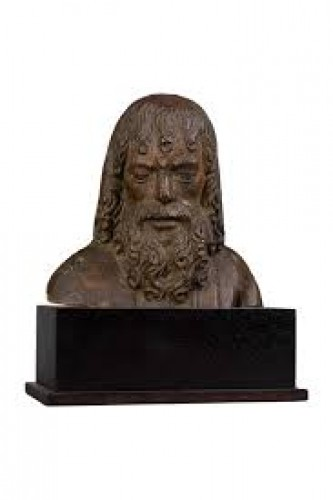 Man's bust in oak - South Netherlands, 15th century