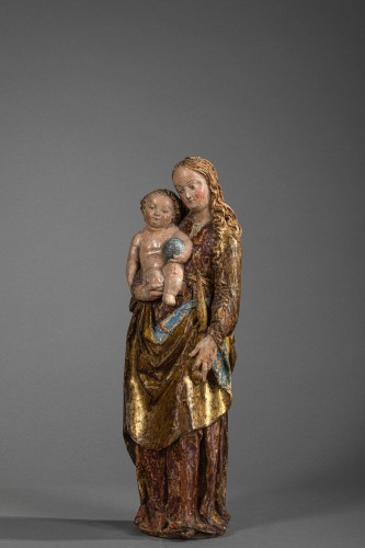 Virgin and child in lime-tree - South of Germany, beginning of the 16th cen - Sculpture Style Middle age