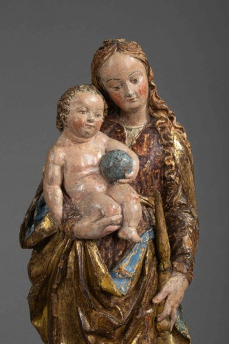 Sculpture  - Virgin and child in lime-tree - South of Germany, beginning of the 16th cen