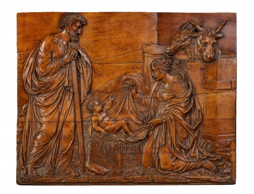 Pannel in boxwood : The Nativity - Southern Germany, c. 1630