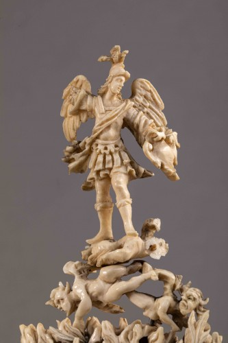 St Michael slaying the demon, ivory - Southern Italy or Sicily, late 17th c -