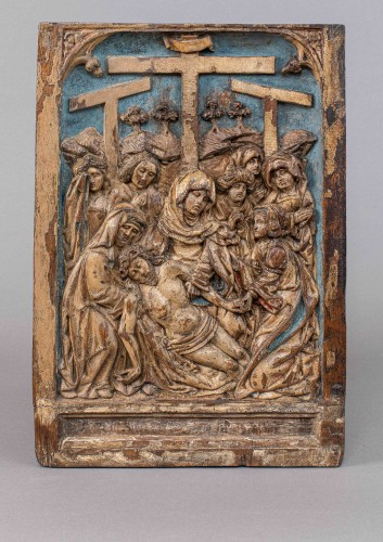 Pair of german gothic  altar panels end of the 15th century - Sculpture Style Middle age