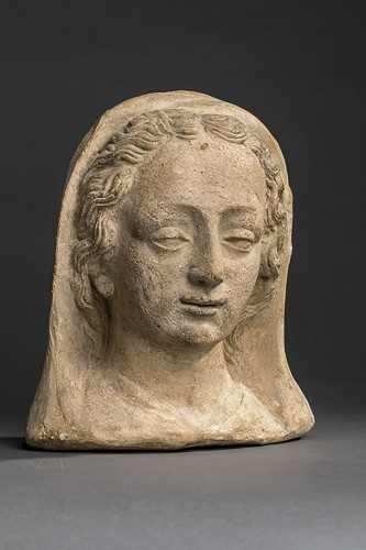 French Head of a woman in terracotta XVII century -