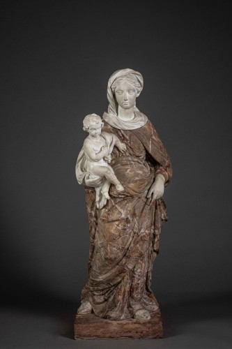 Virgin and child baroque  in two marbles - Sculpture Style French Regence
