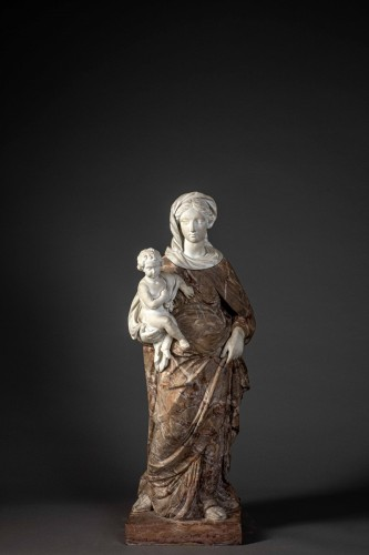Virgin and child baroque  in two marbles -