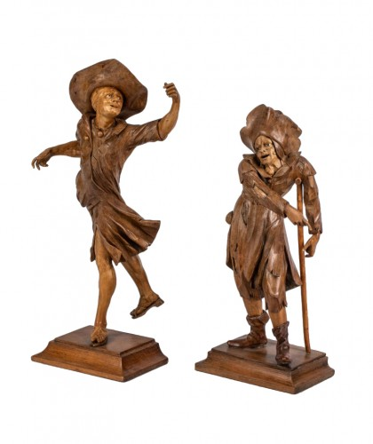 Pair of figures follower of simon troger (1693-1768)