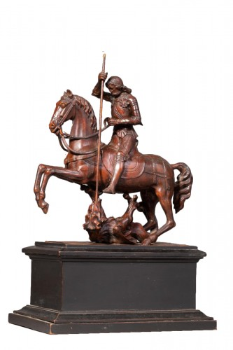 Saint Georges slaying the dragon in boxwood