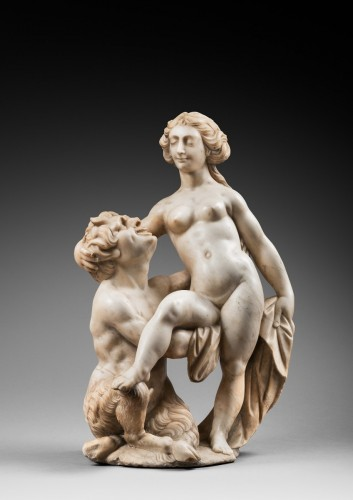 Nymph & Satyr inspired by an engraving of Giolio Bonasone(1510-1576) - Sculpture Style Louis XIV