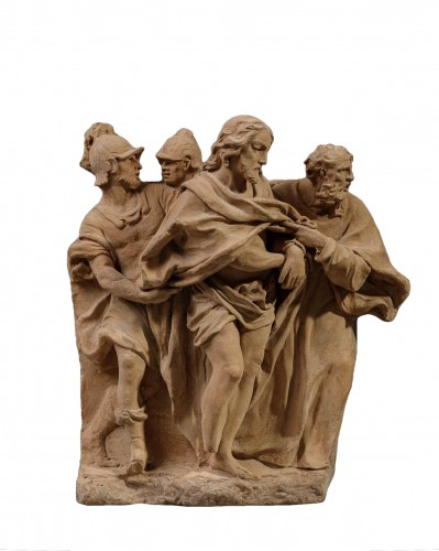 Terracotta high relief representing the Taking of Christ - 18th century