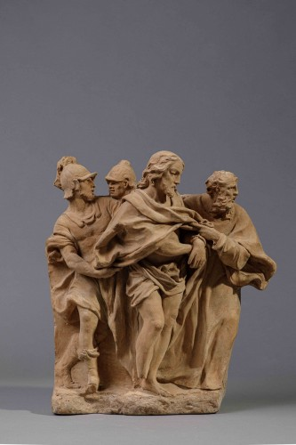 Terracotta high relief representing the Taking of Christ - 18th century - Sculpture Style French Regence