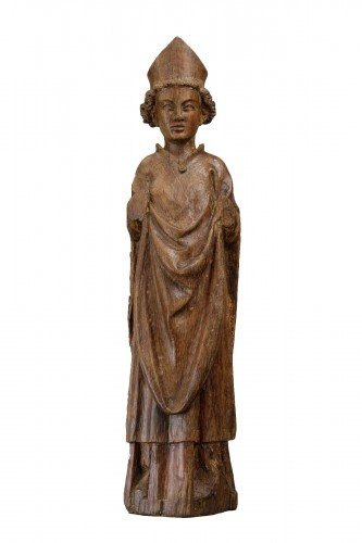 Saint bishop in oak - North of France, first half of the 14th century