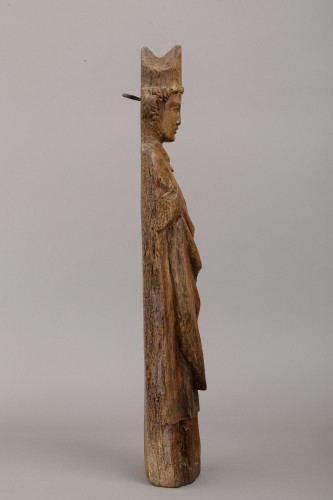 Saint bishop in oak - North of France, first half of the 14th century - Sculpture Style Middle age
