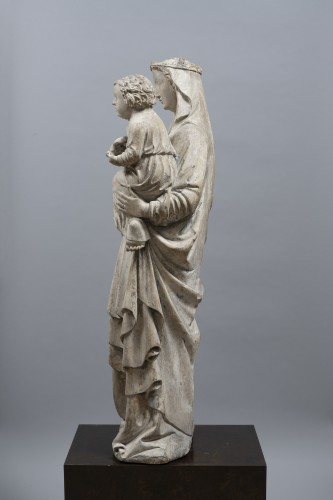 <= 16th century - Virgin and Child, Limestone, Champagne (Seine-et-Marne), mid 14th century