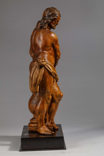 Christ with the column in fruit wood - Italy (Naples?), 17th century - Sculpture Style Louis XIV