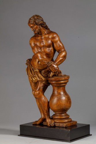 Sculpture  -  Christ with the column in fruit wood - Italy (Naples?), 17th century