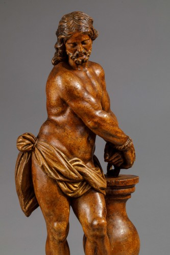 17th century -  Christ with the column in fruit wood - Italy (Naples?), 17th century