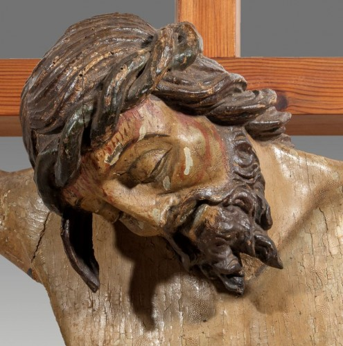 Monumental Christ In Wood, Italy 17th Century -