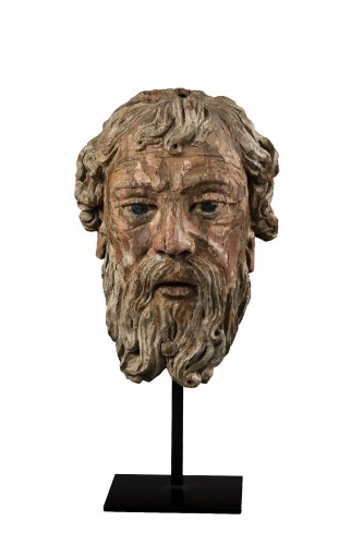 Head Of Bearded Man In Oak - North Of France, XVIth Century