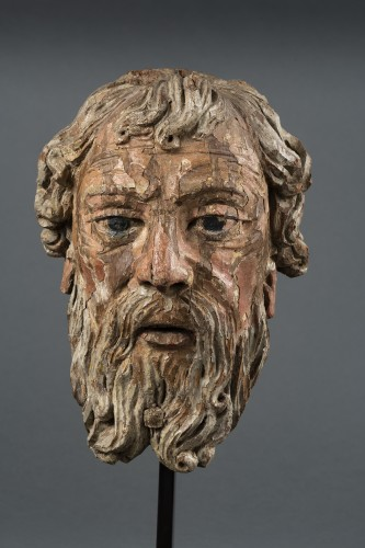 Head Of Bearded Man In Oak - North Of France, XVIth Century - Sculpture Style Renaissance