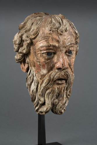 Head Of Bearded Man In Oak - North Of France, XVIth Century -