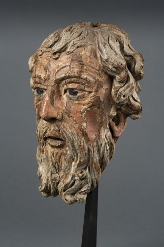 <= 16th century - Head Of Bearded Man In Oak - North Of France, XVIth Century