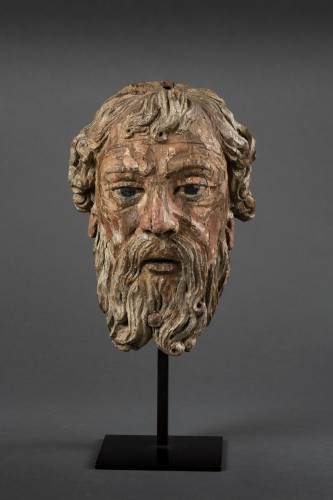 Head Of Bearded Man In Oak - North Of France, XVIth Century - Renaissance