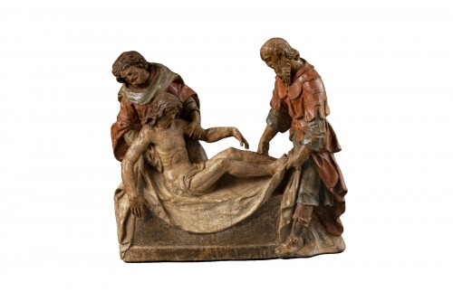 Polychrome Wooden Entombment - France, XVIth Century