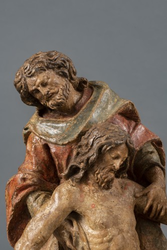 <= 16th century - Polychrome Wooden Entombment - France, XVIth Century