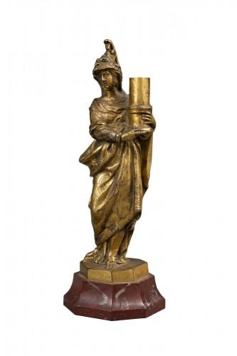 Minerva Candlestick In Gilt Bronze - Venice, XVIIth Century