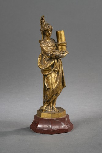 Minerva Candlestick In Gilt Bronze - Venice, XVIIth Century - Sculpture Style Louis XIV