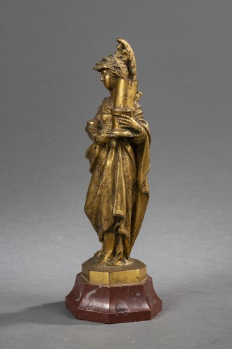 Minerva Candlestick In Gilt Bronze - Venice, XVIIth Century -