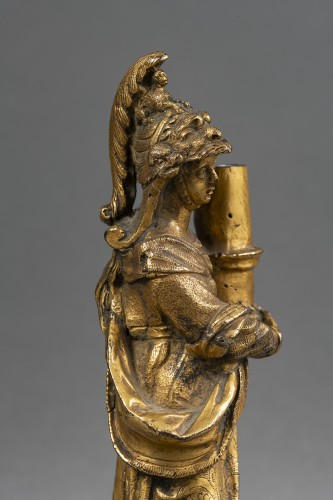 17th century - Minerva Candlestick In Gilt Bronze - Venice, XVIIth Century