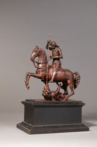 Saint George slaying the dragon - Gothic Revival - Sculpture Style Restauration - Charles X