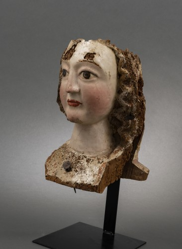 Gothic female head - Rhine, Second half of the 13th century - Sculpture Style Middle age