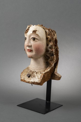 Sculpture  - Gothic female head - Rhine, Second half of the 13th century