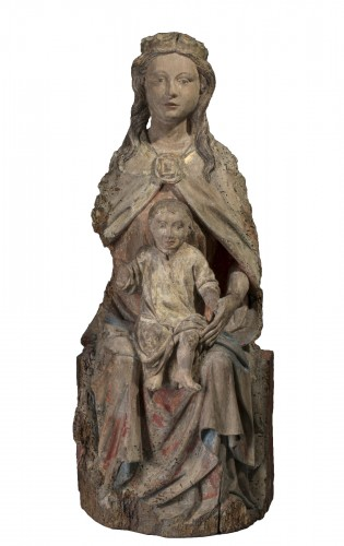 Sedes Sapientiae in walnut - Limousin, Second half of the 15th century