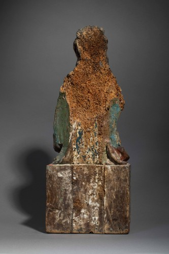 Sedes Sapientiae in walnut - Limousin, Second half of the 15th century  - Sculpture Style Middle age