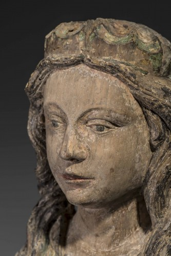 Sedes Sapientiae in walnut - Limousin, Second half of the 15th century  - Middle age