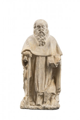 Saint Anthony in Limestone - Burgundy (Côte d'Or), Mid. 15th century